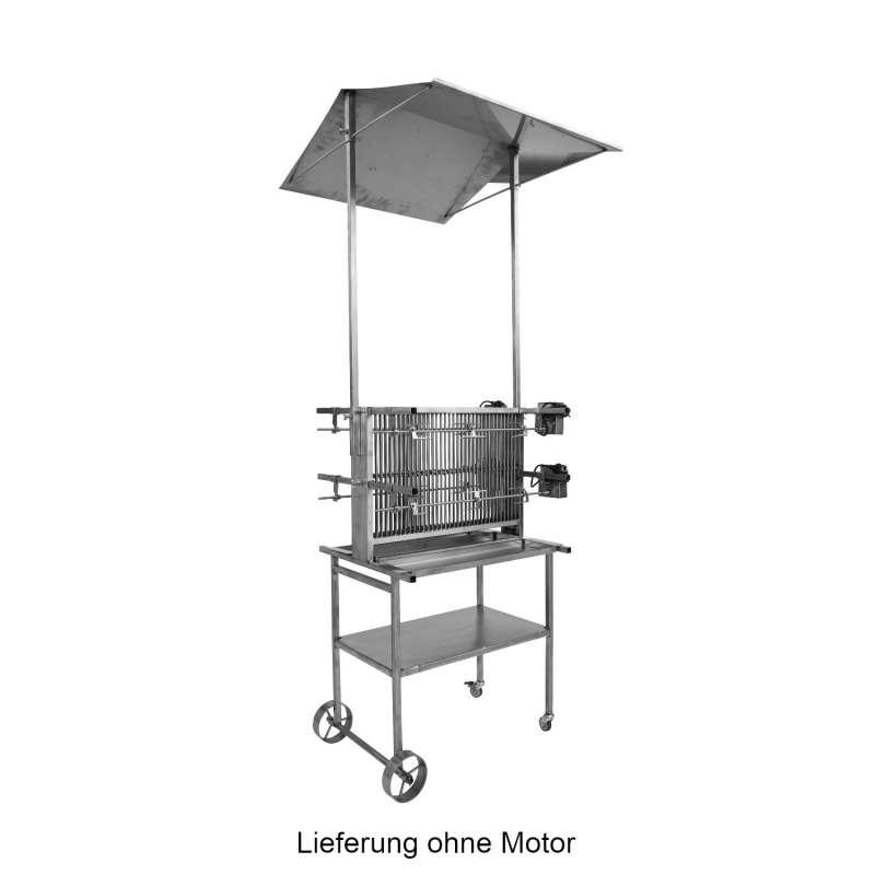 Schneider fahrbarer Vertikalgrill mit Dach Gesundheitsgrill 4-fach Edelstahl 66 cm breit Grillspieß