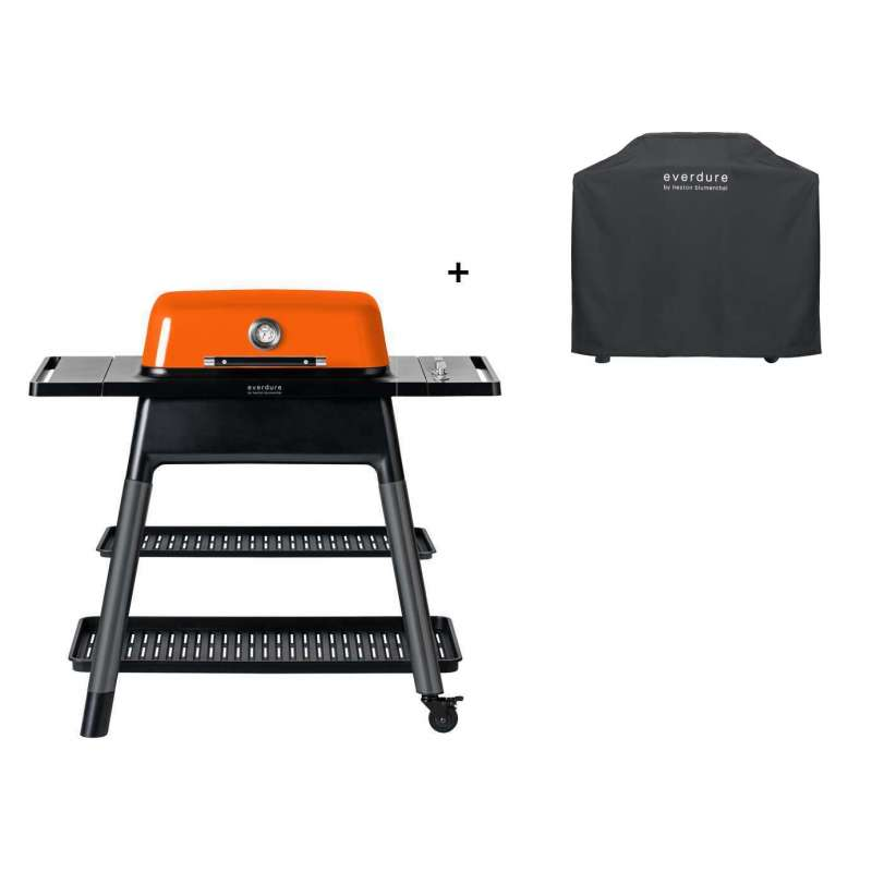 Everdure Gasgrill Force 2-Brenner Grill Farbe Orange inkl. Premium Abdeckhaube