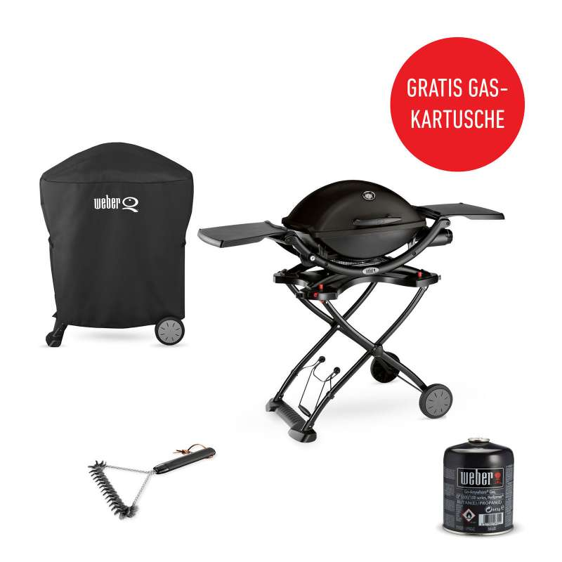 Weber Vorteils-Set Q 1200 Mobil Black Line Gasgrill