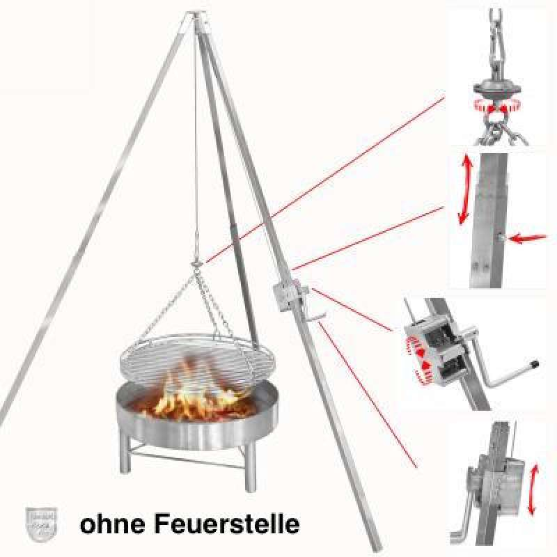 Schneider Edelstahl Dreibeingrill Schwenkgrill Höhe 200 cm mit Rost Ø 70 cm