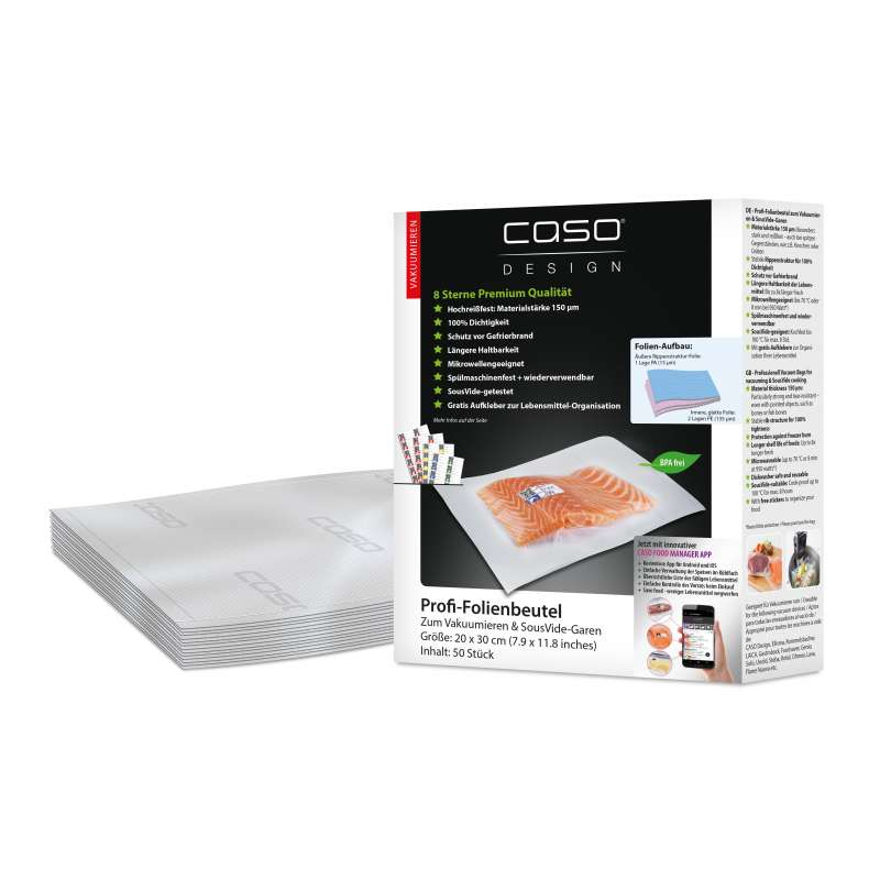 Caso Design Profi-Folienbeutel 20 x 30 cm 50 Stück für Vakuumiersysteme und Sous Vide