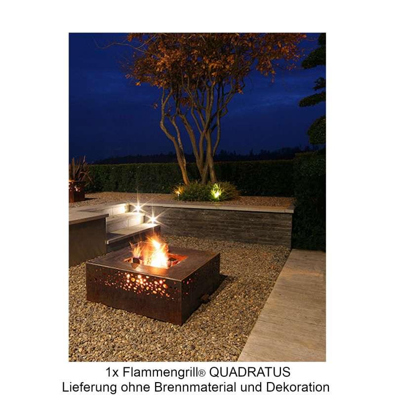 Mecondo Flammengrill® QUADRATUS 90x90x35 cm Edelstahl-Grillfäche Corten/Edelstahl Feuertisch