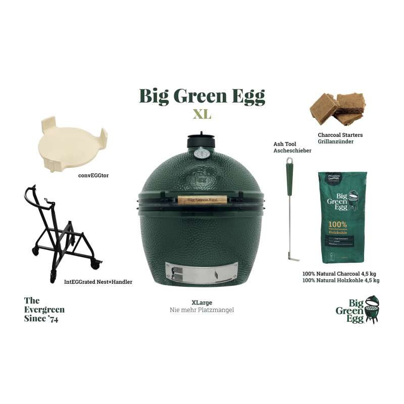 Big Green Egg XL XLarge Starter-Set Kamadogrill Keramikgrill ∅ 61cm Grillrost für bis zu 10 Personen