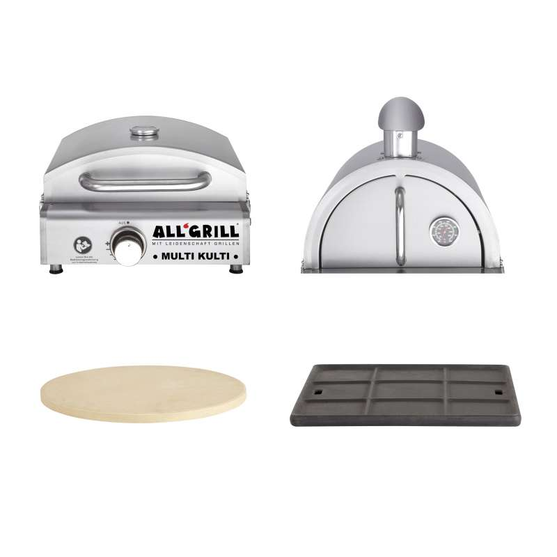 Allgrill MULTI-KULTI Set 4 - Gasgrill + Pizzahaube + Pizzastein + Gussgrillplatte