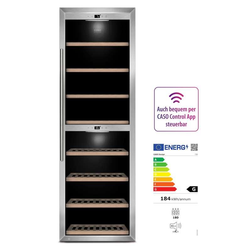 Caso Design Wine Comfort 1800 Smart App-Gesteuerter Weinkühlschrank EEK: C / Spektrum: A+++ bis G