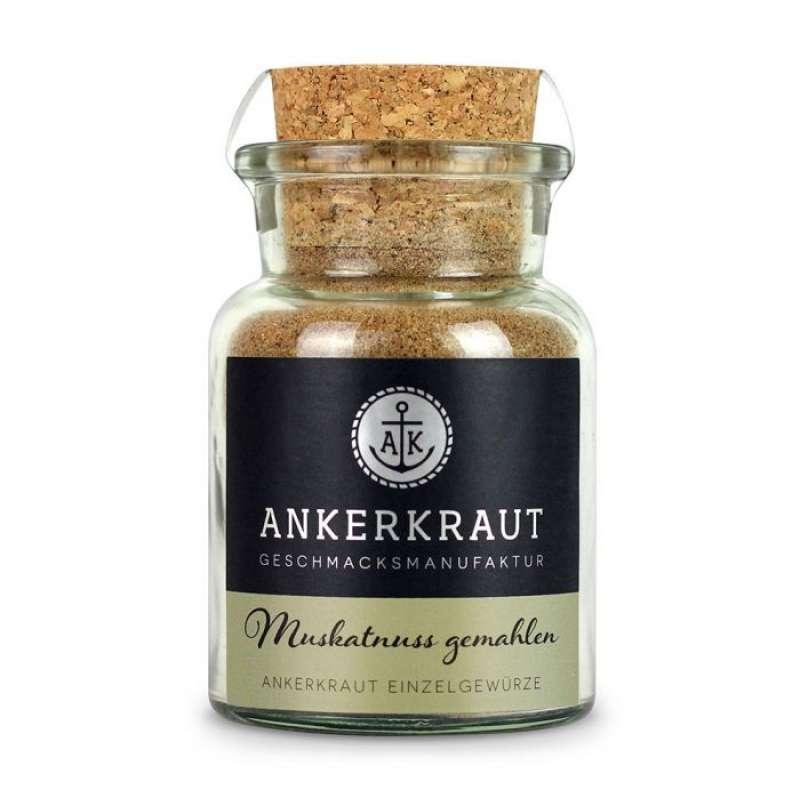 Ankerkraut Muskatnuss, gemahlen Einzelgewürz Gewürzzubereitung im Korkenglas 65 g