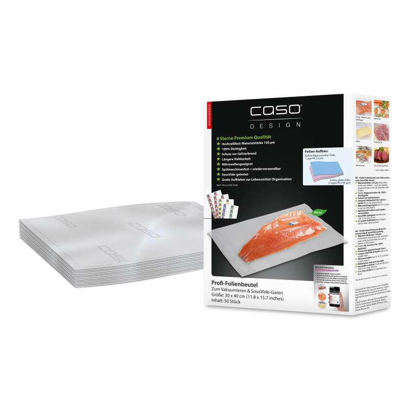 Caso Design Profi-Folienbeutel 30 x 40 cm 50 Stück für Vakuumiersysteme und Sous Vide