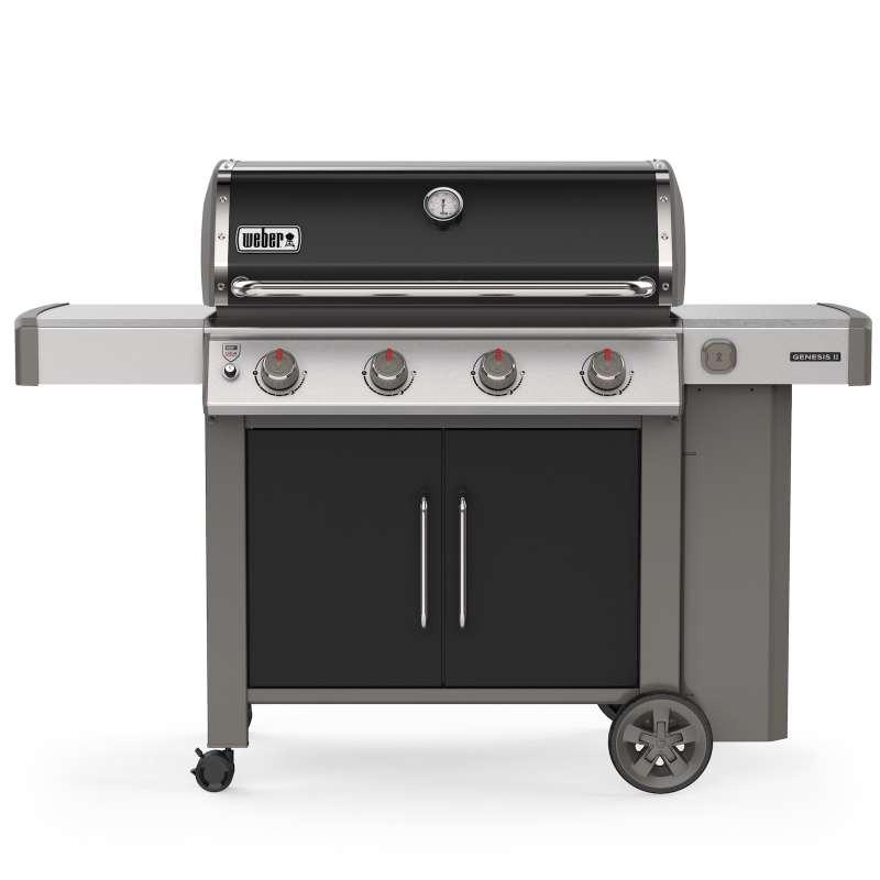 Weber Gasgrill Genesis II E-415 GBS Black 2019 + iGrill 3 Thermometer + Weber Grillbuch American BBQ