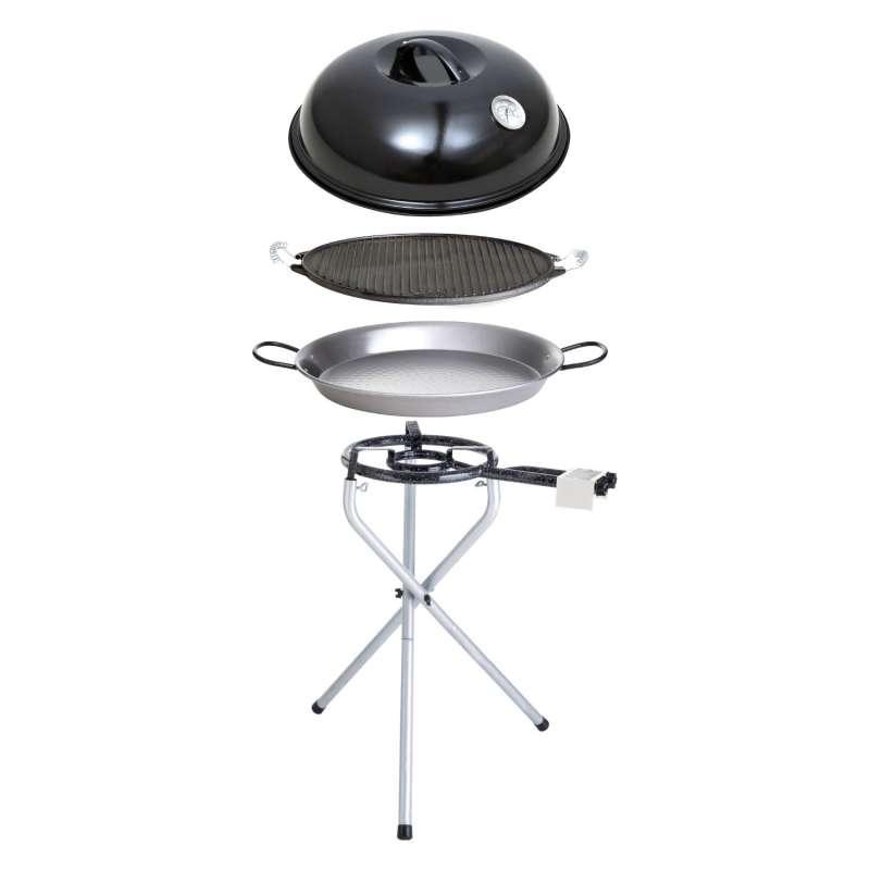Paella World Portable Set 1 mit Brenner, Paella-Pfanne, Grillplatte und Deckel Ø 30/42 cm