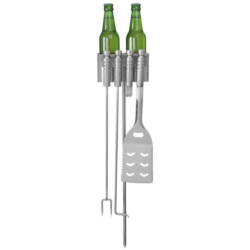 Schneider Halter für Besteck und 2 Stubbi Flaschen inkl. Grillbesteck V2A