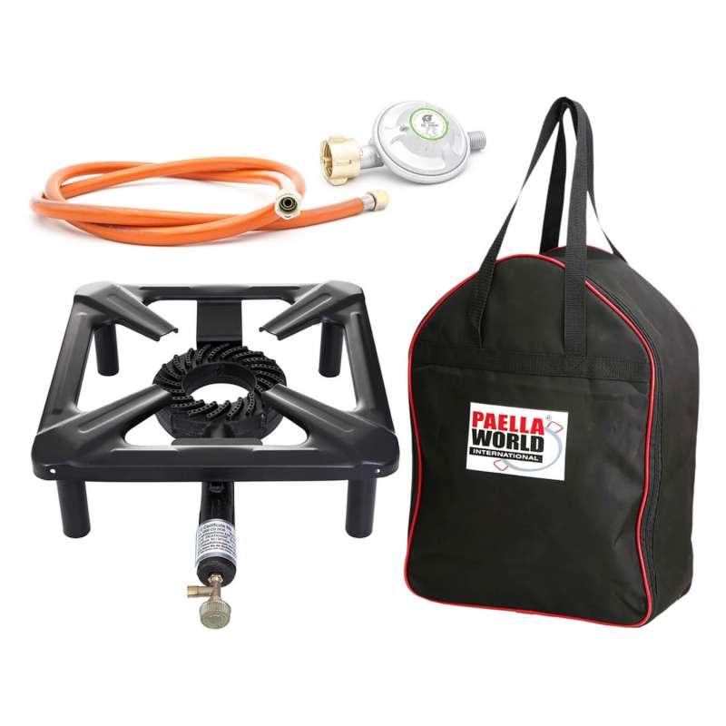 Paella World Hockerkocher-Set klein 30x30x14 cm mit Tasche und Gasanschluss ohne Zündsicherung
