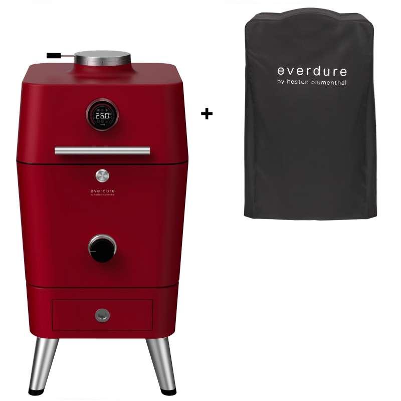 Everdure 4K Kamado Kohle- und elektrischer Outdoor Ofen Farbe Rot inkl. Premium Abdeckhaube