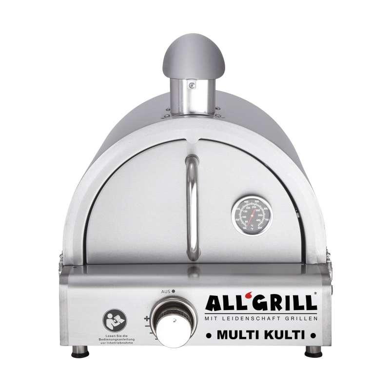 Allgrill MULTI-KULTI Set 2 zündgesichert - Gasgrill + Edelstahlpizzahaube mit Kamin