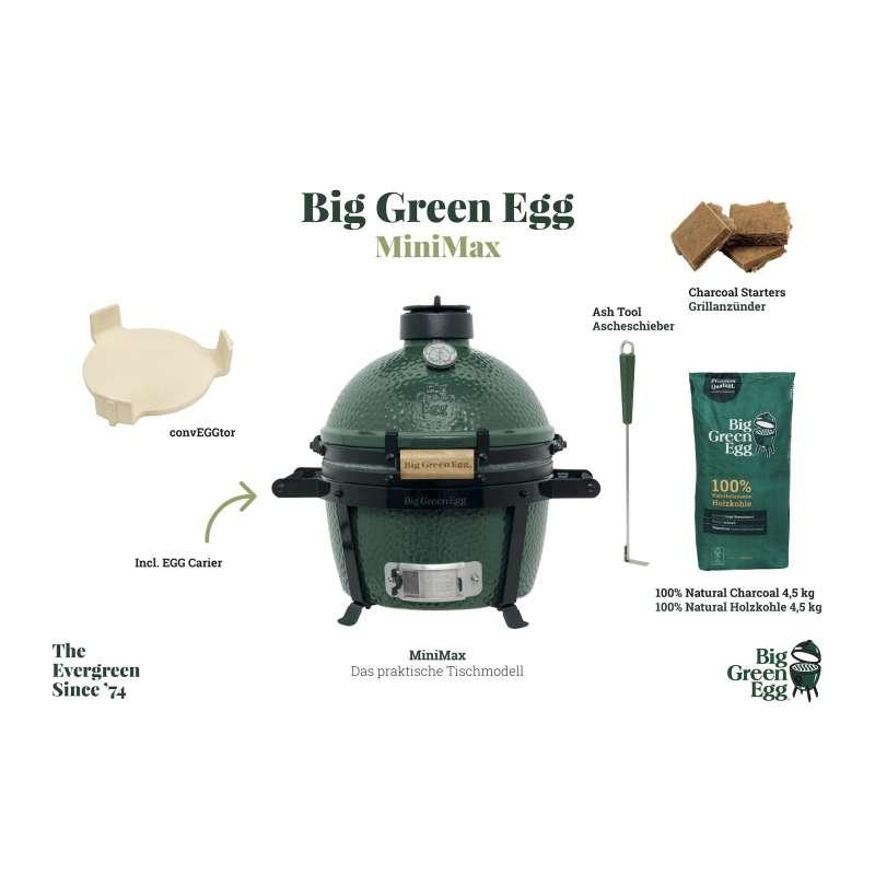 Big Green Egg MiniMax Starter-Paket Kamadogrill Keramikgrill ø 33 cm Grillrost für 4-6 Personen