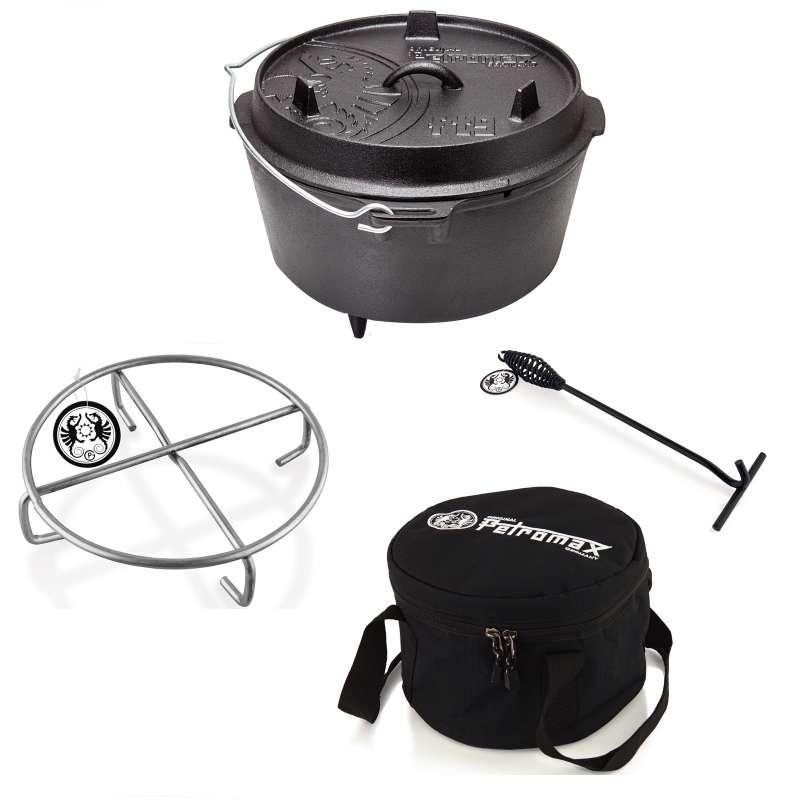 Petromax Feuertopf-Set ft9 mit Füßen 7,5 Liter Untersetzer,Tasche,Deckelheber