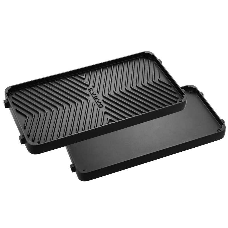 Cadac Wendegrillplatte aus Aluminiumguss 19 cm x 38,8 cm für Meridian und Entertainer Gasgrill 98700