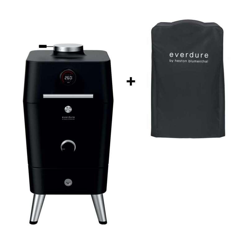 Everdure 4K Kamado Kohle- und elektrischer Outdoor Ofen Schwarz inkl. Premium Abdeckhaube