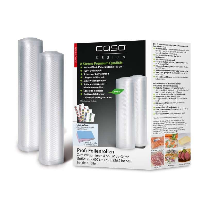 Caso Design Profi-Folienrollen 20 x 600 cm 2 Stück für Vakuumiersysteme und Sous Vide