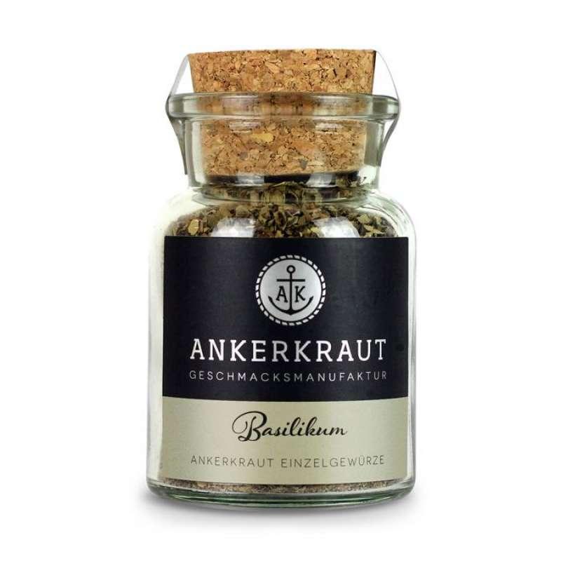 Ankerkraut Basilikum gerebelt Küchengewürz für Mediterrane Gerichte im Korkenglas 25 g