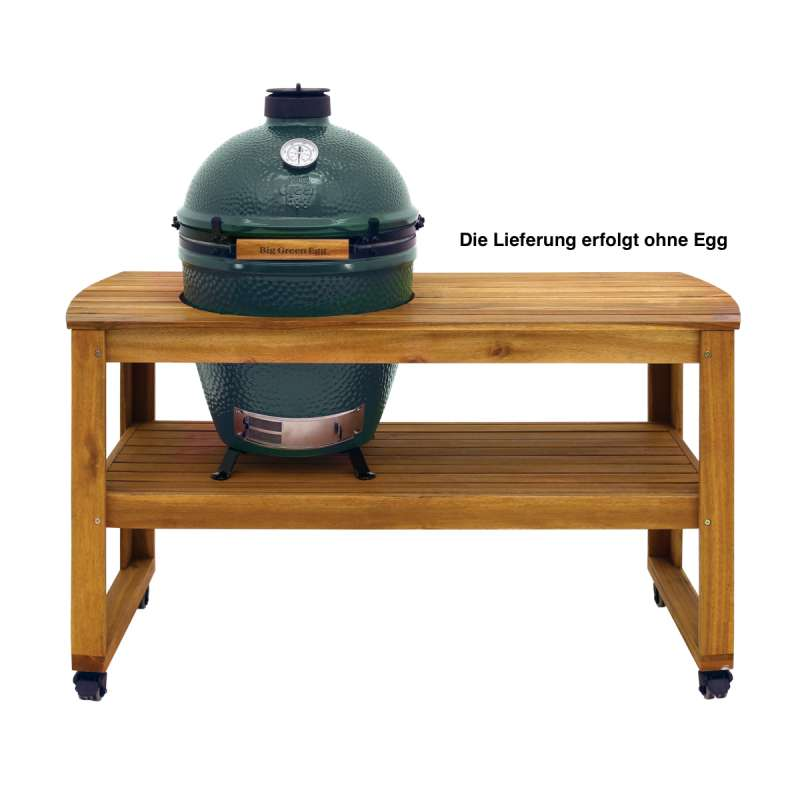 Big Green Egg Akazientisch Acacia Table Large ohne Egg 150 x 60 x 80 cm fahrbar inklusive Rollen