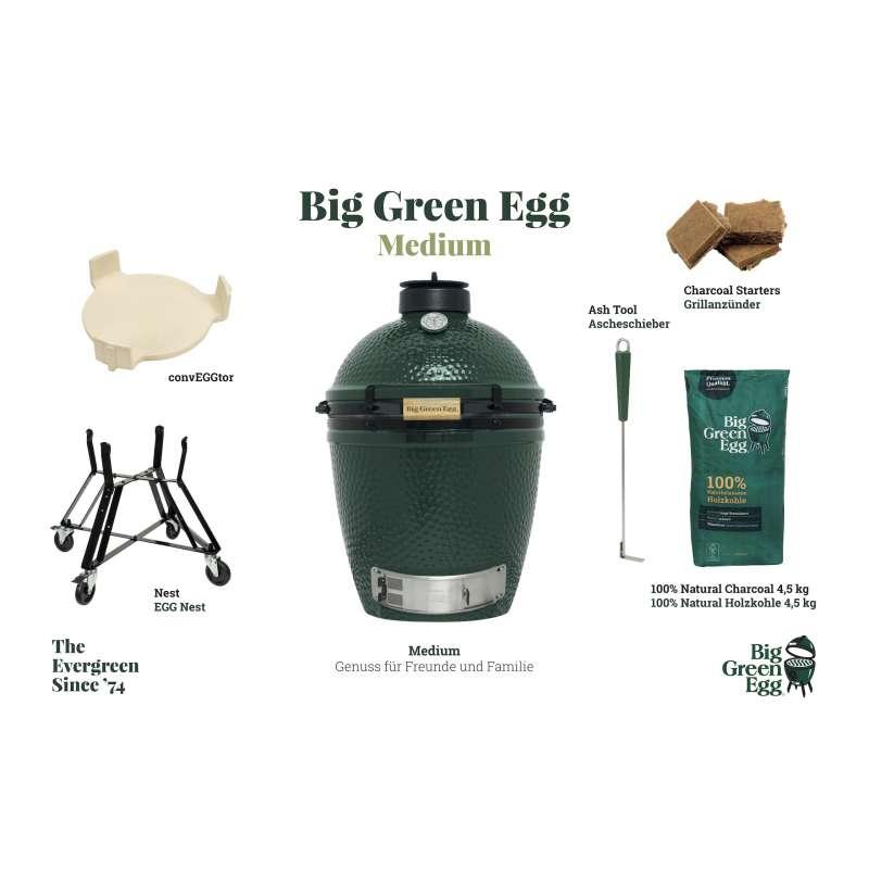 Big Green Egg M Medium Starter-Paket Kamadogrill Keramikgrill ø 40cm Grillrost für bis zu 6 Personen
