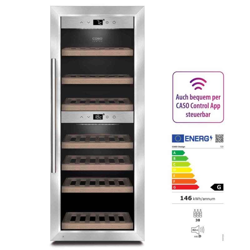 Caso Design Wine Comfort 380 Smart App-Gesteuerter Weinkühlschrank EEK: G / Spektrum: A bis G