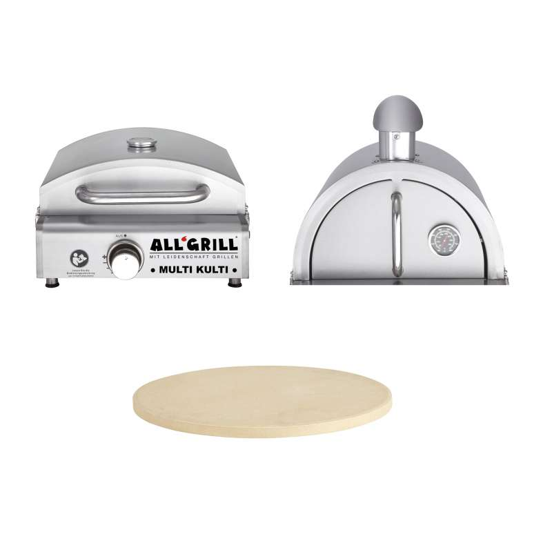 Allgrill MULTI-KULTI Set 3 - Gasgrill + Edelstahlpizzahaube + Pizzastein Ø 31 cm