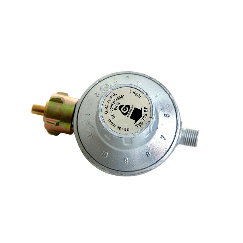 Paella World 11-Stufen-Gasdruckminderer 30-50 mbar ohne Sicherheitsventil 1/4'' Linksgewinde