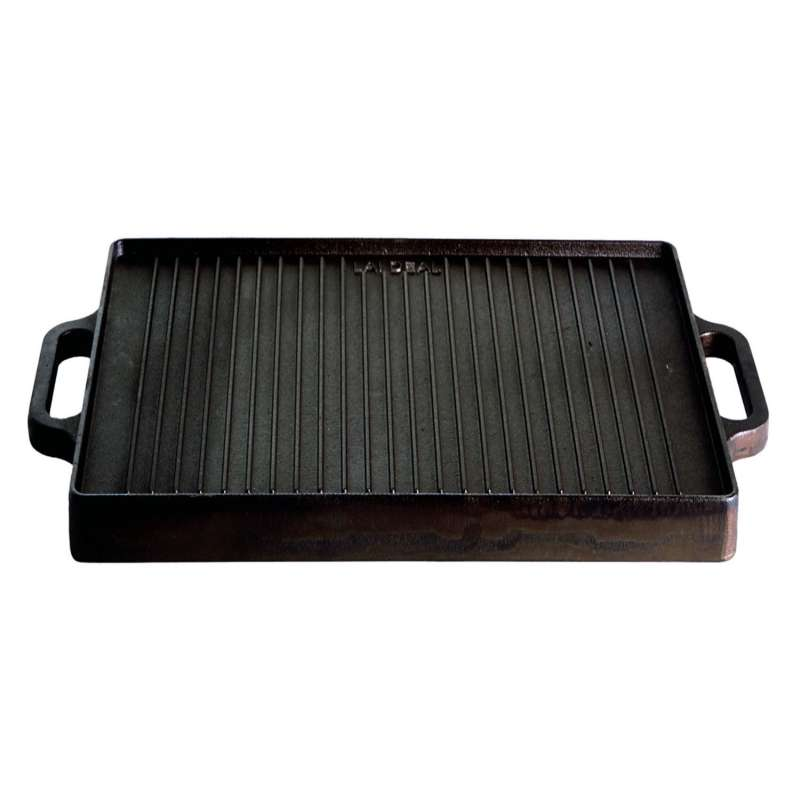 Gusseisenkuss® Grillplatte aus Gusseisen 32x32 cm Gussplatte Plancha geriffelt/glatt