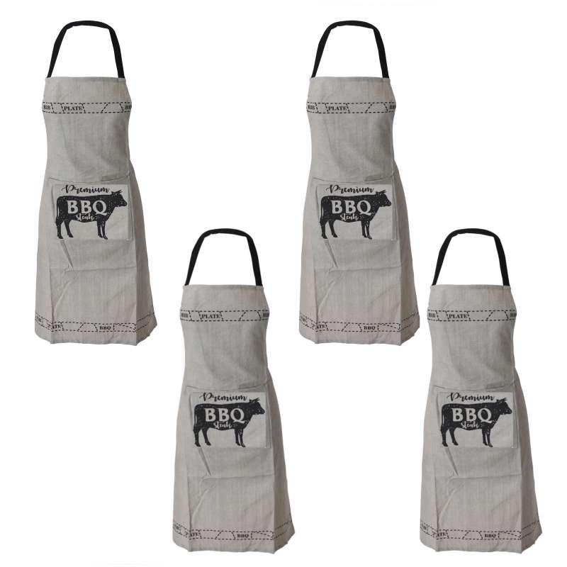 Grillschürze 4 Stk BBQ 60 x 84 cm Kochschuerze Premium BBQ Servierschürze Latzschürze