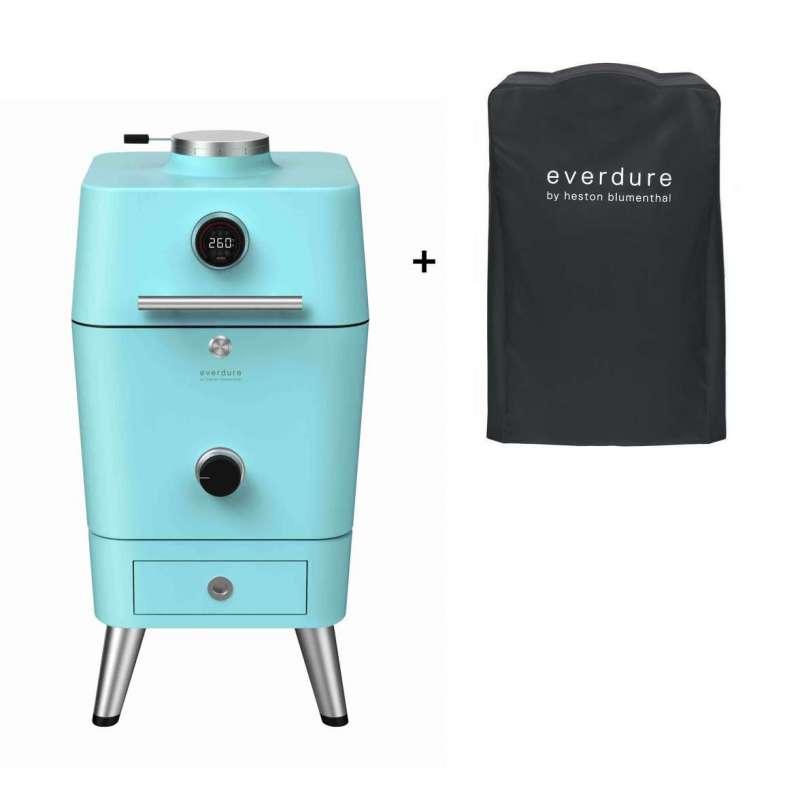 Everdure 4K Kamado Kohle- und elektrischer Outdoor Ofen Mint inkl. Premium Abdeckhaube