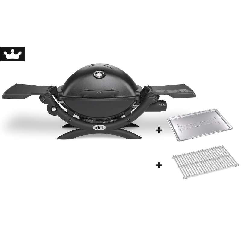 Weber Gasgrill Q 1200 Black mit Hitzeschild und Bratenrost