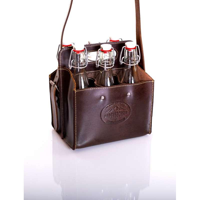 Alpenleder Getränketasche ALPENSECHSER wine Ledertasche für 6 Bierflaschen CG2094H-w