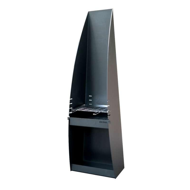 Hainser Gartenkamin und Grill Arcus lackierter Stahl 55x40x180 cm