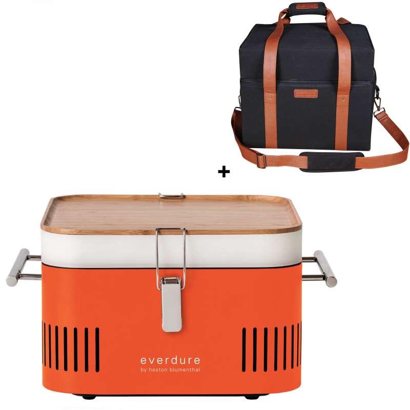 Everdure Holzkohlegrill Cube Farbe Orange tragbar inkl. Transporttasche
