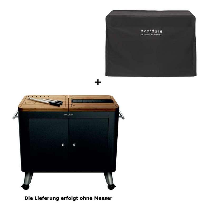 Everdure mobile Outdoor Küche Schwarz Arbeitsplatte Beistelltisch inkl. Abdeckhaube