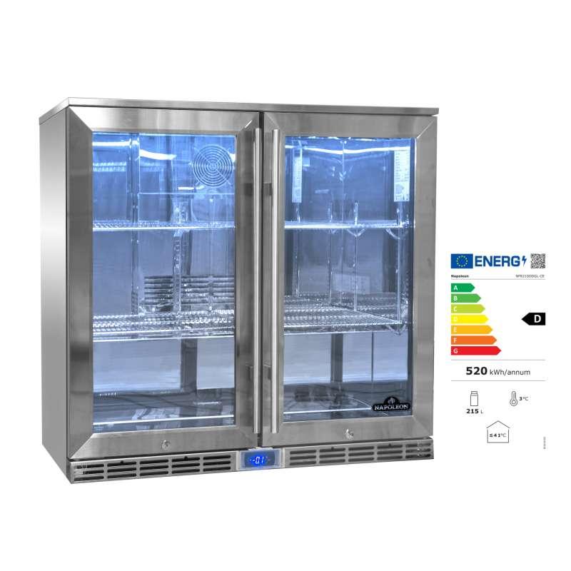 Napoleon Edelstahl Doppel-Outdoor Kühlschrank 210 Liter mit zwei Türen EEK: D / Spektrum: A bis G