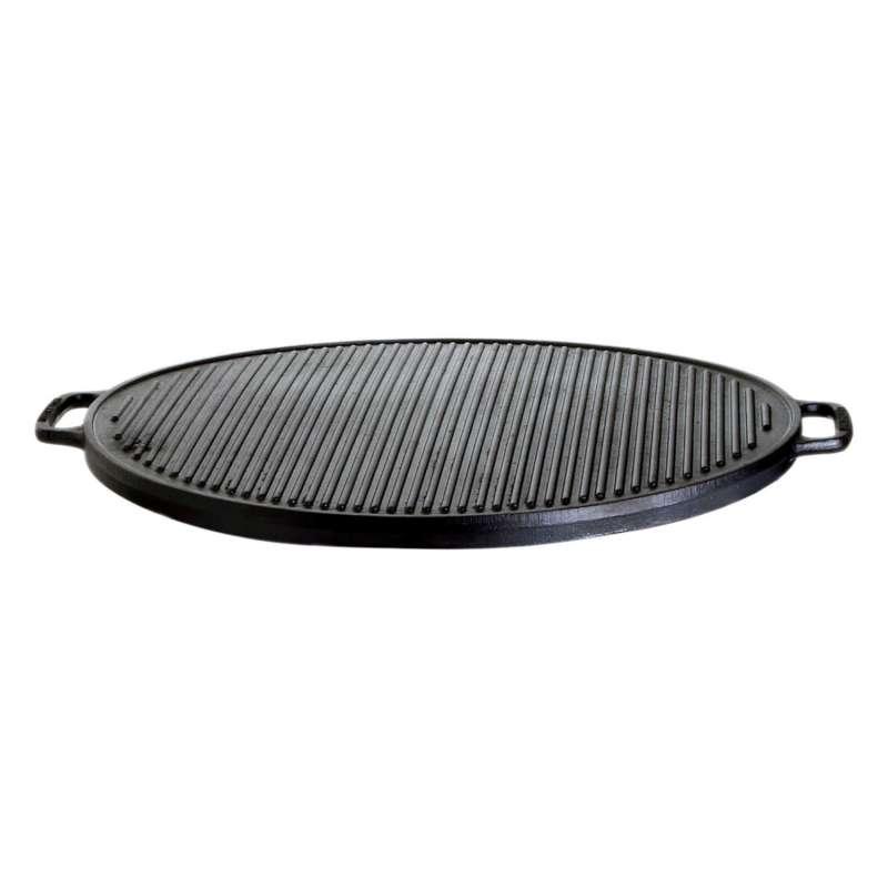 Gusseisenkuss® Grillplatte aus Gusseisen Ø 45 cm Gussplatte Plancha geriffelt/glatt