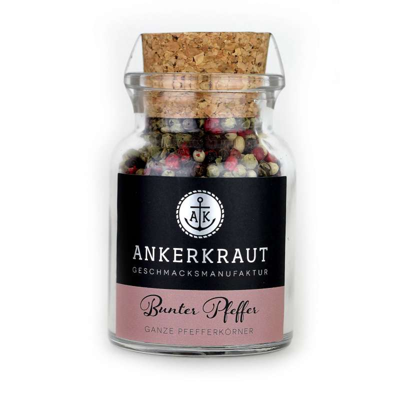 Ankerkraut Bunter Pfeffer Ganz Pfefferkörner im Korkenglas 70 g Pfeffergewürz