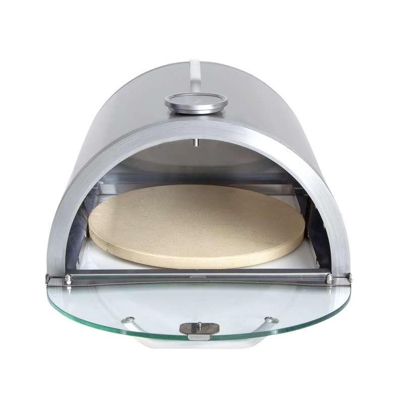 Allgrill Pizzaboxx rund Edelstahl Pizzaaufsatz für Gasgrills mit Seitenkochfeld