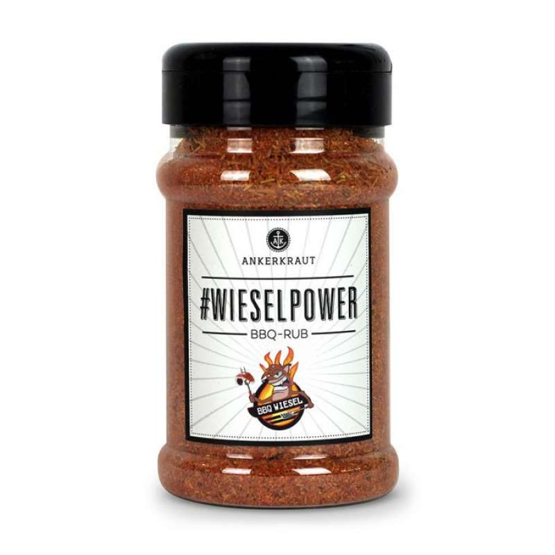 Ankerkraut Wieselpower Gewürzmischung BBQ Rub Gewürzzubereitung für Fleisch im Streuer 200 g