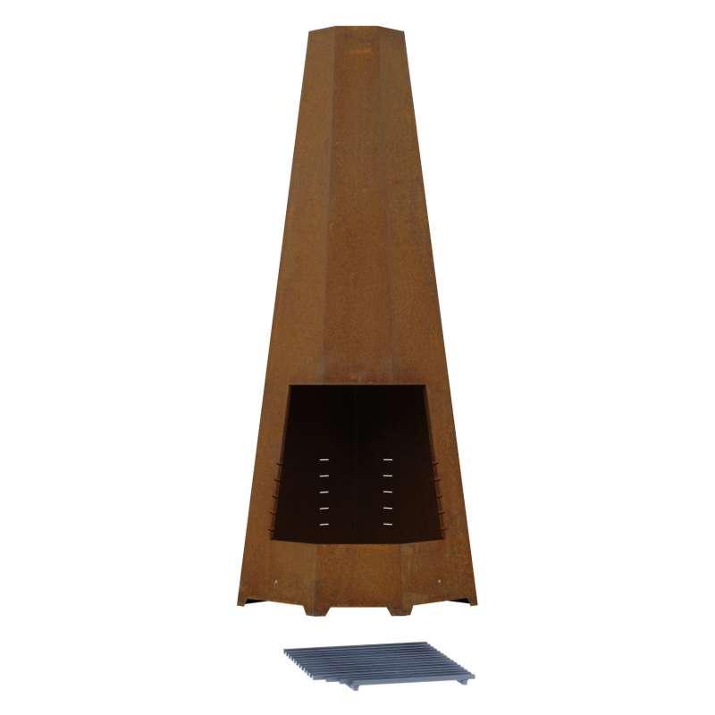 Pyramid Gartenkamin und Grill Corner Cor-Ten® 4-Stahl 50x50x170 cm