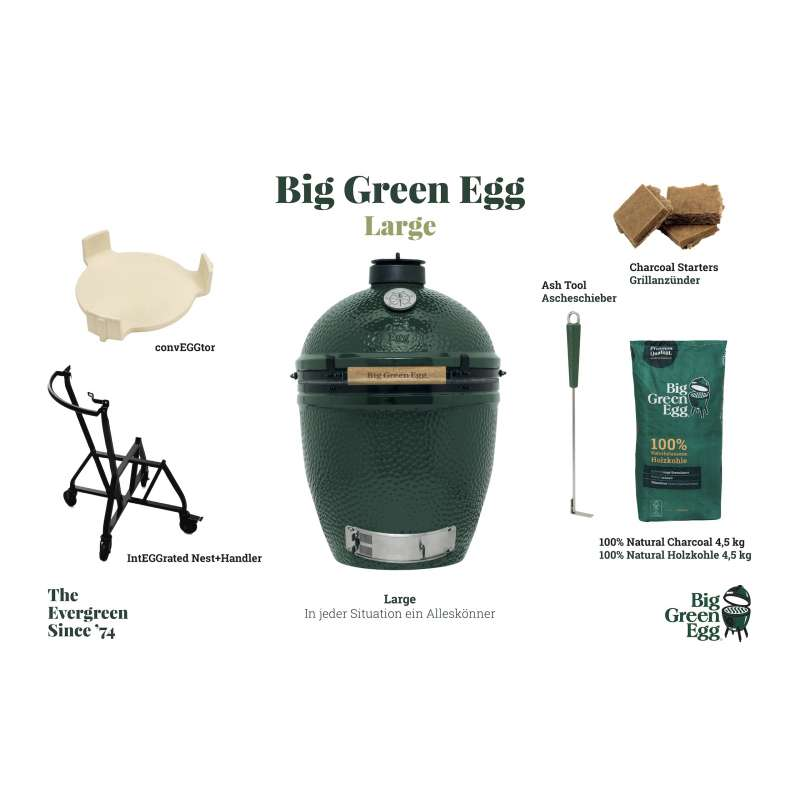 Big Green Egg L Large Starter-Set Kamadogrill Keramikgrill ø 46 cm Grillrost für bis zu 8 Personen
