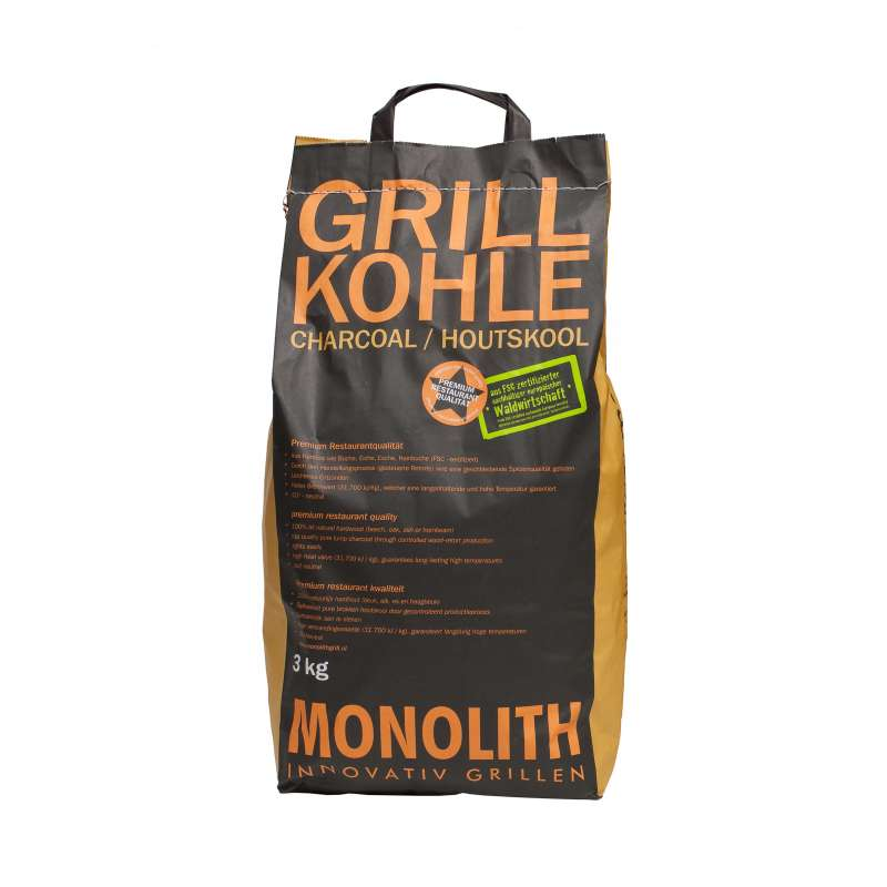 Monolith Premium Grillkohle Holzkohle in Restaurant Qualität 3 kg 201091