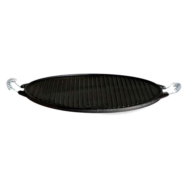Gusseisenkuss® Light-Grillplatte aus Gusseisen Ø 38 cm Gussplatte Plancha geriffelt/glatt