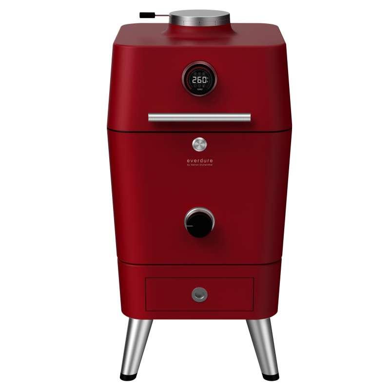 Everdure 4K Kohle- und elektrischer Outdoor Ofen mit elektr. Anzünder Rot