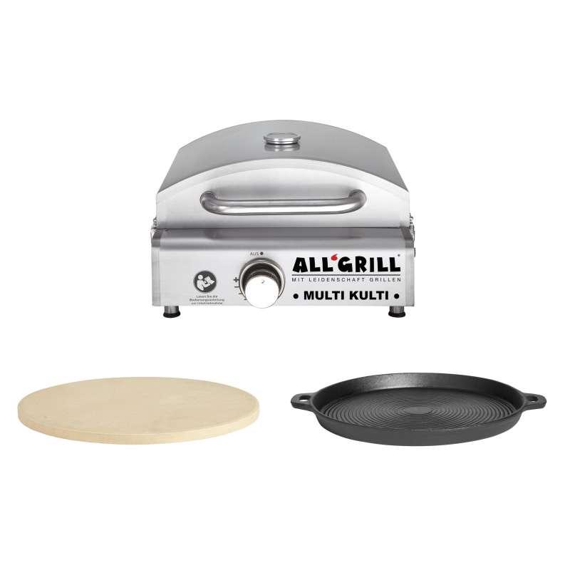Allgrill MULTI-KULTI Set 1 zündgesichert - Gasgrill + Pizzastein + Gussgrillplatte