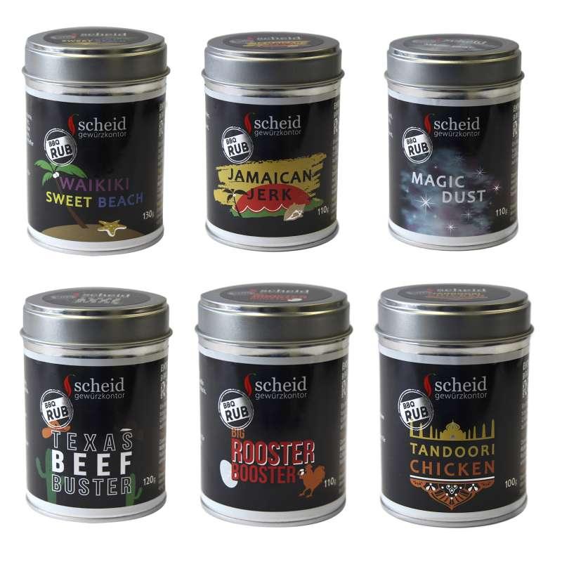 Scheid 6-teiliges BBQ-Rub Gewürz-Set Gewürzmischung