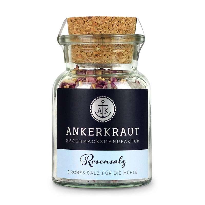 Ankerkraut Rosensalz Korkenglas 130 g grobes Salz für die Mühle Gewürzsalz
