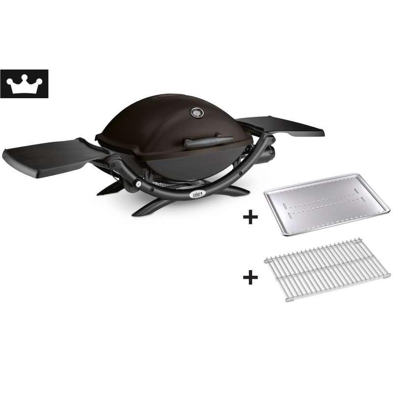 Weber Vorteils-Set Gasgrill Q 2200 Black 4-teilig mit gratis Grillzange